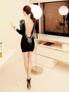 Black dress backless