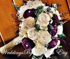 Fall Bouquets Fall Wedding Burlap LacePlum por WeddingsByBillie
