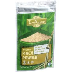 TerrAmazon Organic Maca Powder - 2 oz - Vitamin CDietary Fiber11 ServingsIngredients: Organic maca powder. Organic: 95%+ Organic Gluten Free: No Dairy Free: No Yeast Free: No Wheat Free: No Vegan: No Kosher: No GMO Free: Yes Summer Melt Risk? No Country Origin: Peru Dimensions: 8.5 in. L x 8.5 in. W x 8.5 in. H Pack: 1 Size: 2 OZ Selling Unit: each. Health Beauty. Weight: 0.17