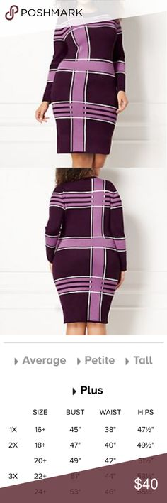 Melina Sweater Dress - Plus Plaid on point! A vibrant palette updates a timeless print on Eva's Melina Sweater Dress, finished with ribbed trim. Designed for plus-sized body types – please see our size chart for more details. From the exclusive Eva Mendes Collection. Crewneck.Ribbed neckline and sleeve cuff. Straight silhouette.Shoulder to hem length: 38 inches. 80% Rayon, 20% Nylon Size 2X eva mendes for New York & Company Dresses Midi