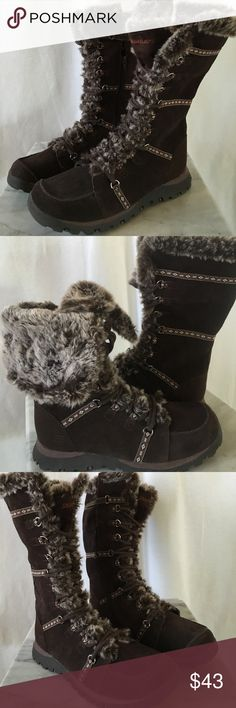 "NEW Skechers fur-trim suede boots Brand new, never worn! Half zip closure with lace up front. Suede upper with faux-fur trim/lining. Fold over cuff that can be worn up or down. Note the fantastic aztec design accenting on the shell! 12"" tall. Thanks! 💋 Skechers Shoes Lace Up Boots"