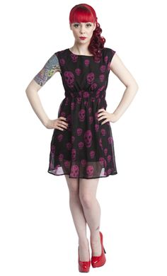 @Kristina Anderson !!!  CHIFFON SKULL DRESS BLK/PNK  Price: $46.00