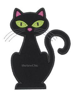 Cat - Halloween Digital Applique Embroidery Design (042)