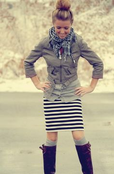 striped skirt, leather jacket, grey cardigan, layers