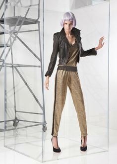 Alexis Rollinson Track Pant in Gold Foil