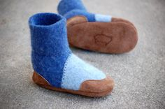 Baby Shoes, Wool Toddler Slippers, Leather Soles, size 0-12, 6-18, 12-24 months, All of the Rowboats