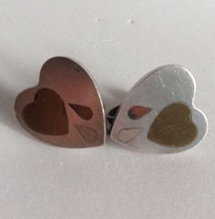 Vintage SAUL Bleeding Crying Heart Earrings Sterling Silver Brass Copper Inlay #Saul