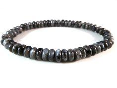 Larvikite Stretch Bracelet 6mm Smooth Rondelle Gemstone Beads Black Labradorite Norwegian Moonstone by SandiLaneFineArt on Etsy