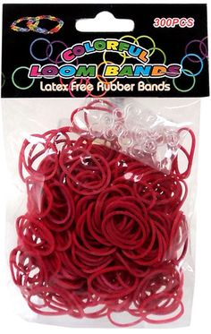 Colorful Loom Bands 300 DARK RED Rubber Bands with 'S' Clips