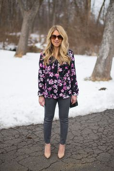 Floral Top and Coated Jeans