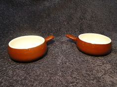 $6.79 Vintage Hall Pottery Handled Onion Soup Bowl Brown 4 1/2 in Restaurant Ware  #HallPottery