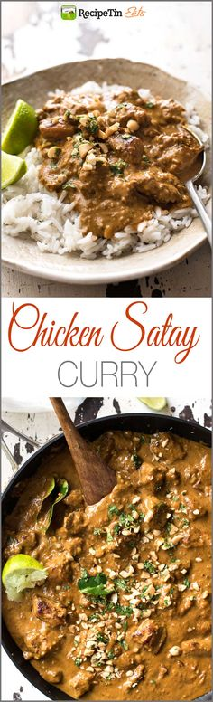 Chicken Satay Curry – Satay lovers dream come true! Chicken marinated in an authentic homemade satay seasoning simmered in a peanut satay sauce. Authentic restaurant / chef recipe, easy to make! by recipetin Read Chef Recipes, Dinner Recipes, Cooking Recipes, Healthy Recipes, Chicken Satay Curry, Chicken Satay Easy, Marinated Chicken, Peanut Satay Sauce, Peanut Butter Curry