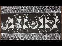 How to do Warli Acrylic Painting Worli Painting, Pottery Painting, Fabric Painting, Madhubani Art, Madhubani Painting, Mandala Drawing, Mandala Art, African Art Paintings, Abstract Paintings