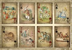 alice in wonderland free printables | ALICE IN WONDERLAND CARDS A4 PRINT / POSTER, VINTAGE, SHABBY, GRUNGE ...