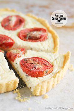 Polenta Crust Tomato Tart on Taste and Tell @Deborah Harroun {Taste and Tell}