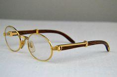 9e3d07c9403 Auth Cartier C Decor Bubinga Wood Gold Silver Plated Prescription Lens  Glasses