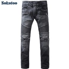 >> Click to Buy << Sokotoo Men's fashion black hole ripped biker jeans Casual slim retro stretch denim straight pants Long trousers #Affiliate