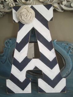 (or E) Adorable Large Chevron Initial Your Choice of Colors with Burlap Flower Great for Bride and Groom Initials for Rustic Wedding, Baby Showers