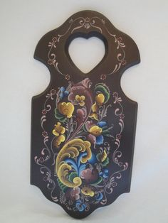 Norwegian Rosemaling: Brown Plaque (Telemark Style). $65.00, via Etsy.