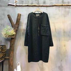 Front Pocket Plus Size Sweater Dress Wool Korean Sweater For Girl #Plus-size #dress #sweater #amazing #fashion