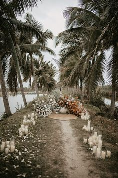 Romantic outdoor ceremony with white candles and neutral blooms | Image by Thien Tong Photography Beach Wedding Inspiration, Elopement Inspiration, Wedding Blog, Wedding Styles, Wedding Ideas, Tulle Wedding Gown, Thailand Wedding, Flower Studio, Wedding Invitation Design