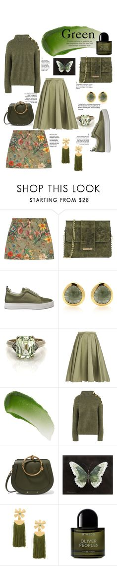 """""""Green"""" by fashionisnowandforever ❤ liked on Polyvore featuring Gucci, Tuscany Leather, Pierre Hardy, Rochas, Lipstick Queen, Boutique Moschino, Chloé, Lizzie Fortunato and Byredo"""