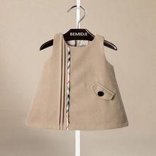 De calidad superior, nueva marca otoño invierno muchachas sin mangas del vestido(China (Mainland))