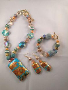 Jesse James Beaded Necklace Earrings and Bracelet by TriniGaiya, $55.00