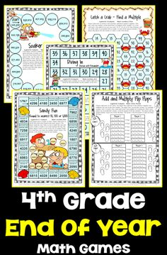 End of the Year Math Games for Fourth Grade: Summer Packet Activities End Of School Year, End Of Year, Math Round, Printable Math Games, Fourth Grade Math, Math Concepts, Math Activities, Summer Fun, Student