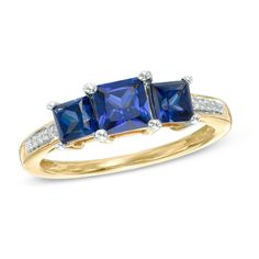 Princess-Cut Lab-Created Blue Sapphire and Diamond Accent Three Stone Ring in 10K Gold - View All Rings - Zales