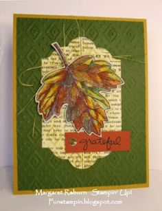 Fun Stampin' with Margaret!  Vintage Leaves set; Timeless Type DSP; Lots of Labels Framelits, Boho Chic TIEF, AquaPainter and inks. Control Freaks Tour, 9/2015