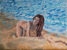 Buy Lady resting on the beach, Pastel drawing by Anna  Sasim on Artfinder. Original nude art for sale, Pastelmat paper, soft pastel art, woman drawing, woman painting. Discover on Artfinder: paintings, prints from independent artists.