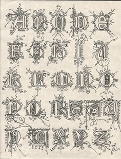 Reproduction of some frilly letters. Calligraphy alphabet with frills Lettering Guide, Hand Lettering Fonts, Lettering Styles, Tattoo Fonts Alphabet, Calligraphy Alphabet, Vintage Typography, Typography Fonts, Fonts Quotes, Stencil Font