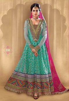 Bela in Pink and Green Anarkali Churidar Suit