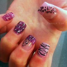 Get Nails, Fancy Nails, Love Nails, Pink Nails, Pretty Nails, Hair And Nails, Leopard Nails, Zebra Nails, Pink Cheetah