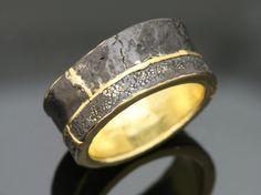 """Anne Bulmer Brewer Studio,,  """"His Wedding Ring 1"""",  Marriage of Metal, Forged, Nanako Engraving, Patina  22K gold, 14K gold, reticulation silver, fine silver"""