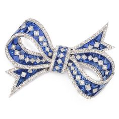 Antique Sapphire And Diamond Bow Brooch c.1910