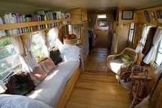 20 School Bus Camper Interior Design and Plans Ideas to Nostalgic Bus Living, Tiny Living, Living Spaces, Living Room, Living Area, Glamping, Camper Interior, Interior Design, Van Interior