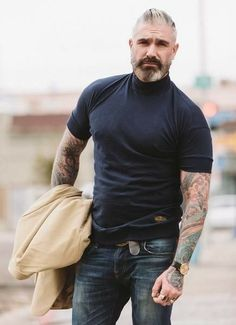 Our classic drop shoulder just got better. Epic vintage styling with our new turtleneck. Neck made from rib banned & introducing a banded bottom for a contoured fit. Made out of breathable cotton Sharp Dressed Man, Well Dressed Men, Daniel Sheehan, Older Mens Fashion, Style Masculin, Hommes Sexy, Mature Men, Beard Styles, Bearded Men