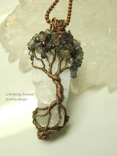 RESERVED Wire Wrapped Mystic Tree of Life Pendant, Amethyst, Iolite & Labradorite on Selenite, Antiqued Copper Handmade Perfectly Twisted Wire Wrapped Jewelry, Wire Jewelry, Handmade Jewelry, Handmade Wire, Tree Of Life Jewelry, Tree Of Life Pendant, Wire Weaving, Wire Crafts, Beads And Wire