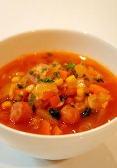 「即席!ミネストローネ~具だくさんのトマトスープ~」トマト缶が無くても、トマトケチャップでパパッと即席ミネストローネが作れます☆お野菜沢山食べましょう♪【楽天レシピ】