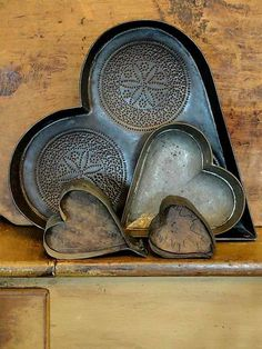 I Heart Valentine's Day : Vintage Heart Shaped Tin Cooking Pans Heart Day, I Love Heart, With All My Heart, Happy Heart, Humble Heart, Vintage Valentines, Be My Valentine, Yoga Studio Design, Heart In Nature