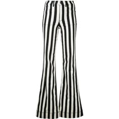 Alice+Olivia striped wide leg jeans ($470) ❤ liked on Polyvore featuring jeans, pants, black, striped jeans, stripe jeans and wide leg jeans