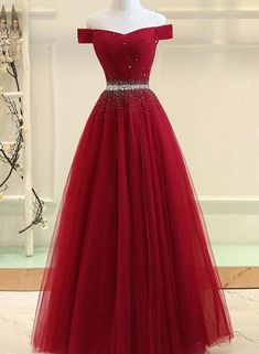 Burgundy tulle off shoulder long prom dress, burgundy evening dress, Customized . - Burgundy tulle off shoulder long prom dress, burgundy evening dress, Customized service and Rush order are available # Source by - Cute Prom Dresses, Dance Dresses, Ball Dresses, Ball Gowns, Long Dresses, Dress Long, Wedding Dresses, Winter Dresses, Bridesmaid Dresses