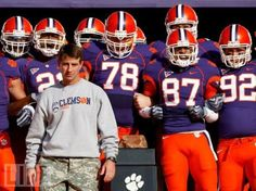 Dabo Swinney and the Clemson Tigers with Howard's Rock!
