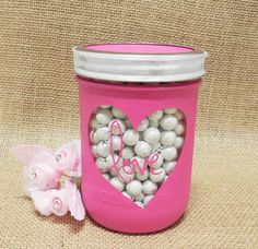 Show some love with a decorated mason jar and sixlets candy!
