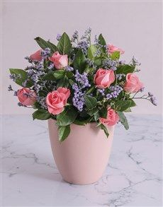 gifts: Pink Sapphire Roses in a Pot! Womens Day Gift Ideas, Same Day Delivery Service, Pink Sapphire, Ladies Day, Floral Wreath, Roses, Wreaths, Gifts, Ornaments