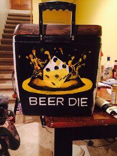 Ours meurent - Cooler - Kasten Sorority Canvas, Sorority Paddles, Sorority Crafts, Sorority Recruitment, Fraternity Coolers, Frat Coolers, Ato Cooler, Guys 21st Birthday, Birthday Beer