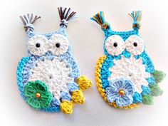 2 Big Crocheted Owls Appliques 100%Quality Cotton by mariamanuel