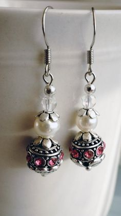Earrings:  Silver Pearl and Pink crystal dangle by VerdigrisGifts